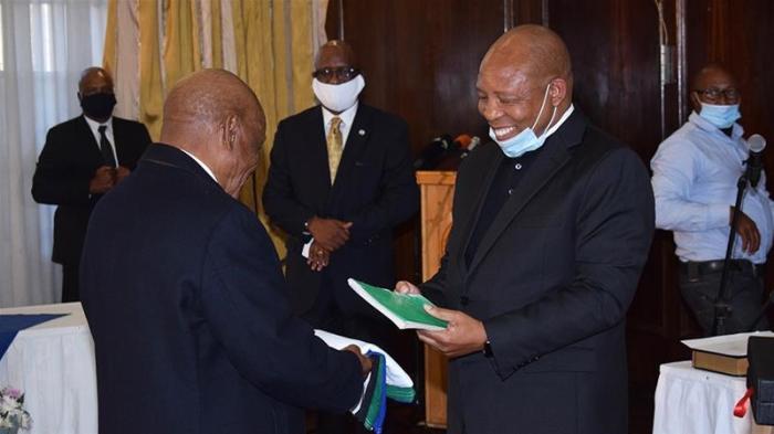 Dr. Moeketsi Majoro and former Prime Minister Thomas Motsoahae Thaba